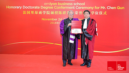 emlyon business school Confers Honorary Doctorate Degree on Shanghai Vice Mayor Chen Qun